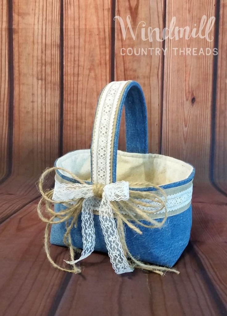 Rustic Denim Lace Basket, Denim Wedding Decoration, Rustic Wedding, Denim Home Decor, Western Party From Windmill Country Threads   http://etsy.me/2thFFhq