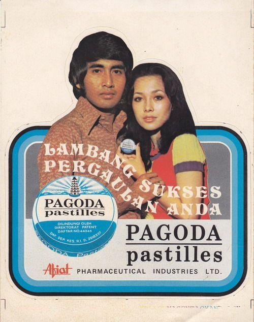 clingakclinguk:  Stiker iklan PAGODA pastilles. dengan bintang iklan Widyawati dan Sophan Sophiaan. sumber : http://antikpraveda.blogspot.com/2011/02/stiker-iklan-pagoda-pastilles.html