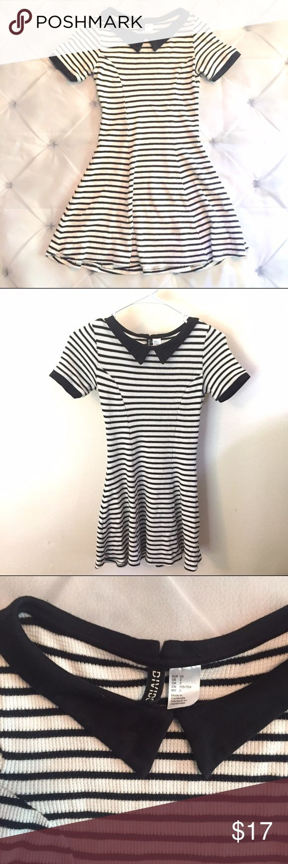 H&M striped mini dress Adorable mini dress. Ribbed material with collar detail.  EUC very comfortable and flattering cut H&M Dresses Mini