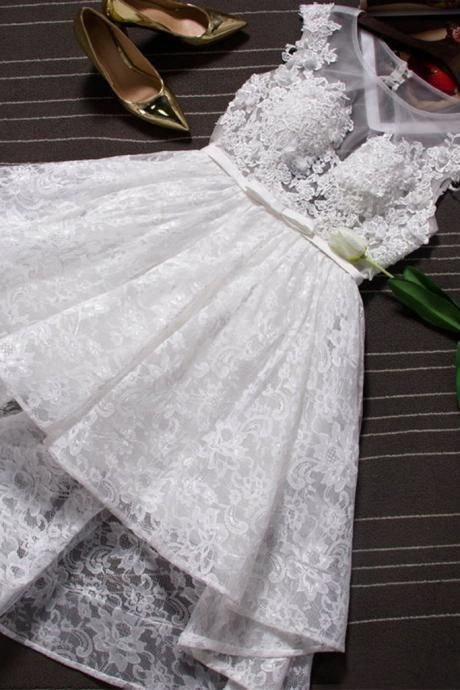 Homecoming dresses, white lace party dresses, short party dresses with appliqués, cheap cap sleeves short prom dresses