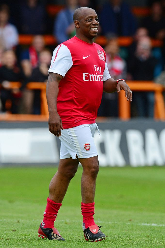 Ian Wright with his big belly on the charity football game. Arsenal Legends XI vs World Refugee Internally Displaced Persons (23 June 2013)