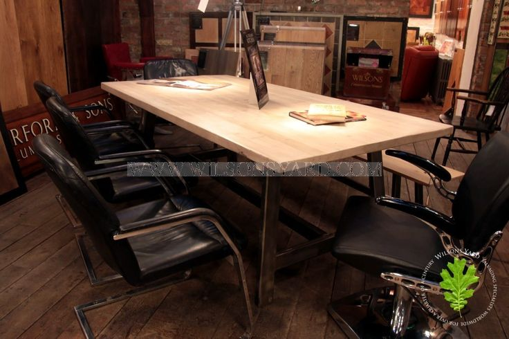Industrial Style Kitchen/Dining Table with Reclaimed Bleached Top | Wilsonsyard.com