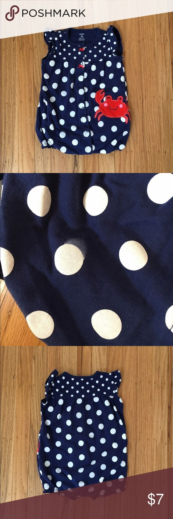 Crab Romper Blue Polka Dots Worn once so fabric like New. Hmmm actually I don't think ever worn lol There is a manufacturing flaw on one Polka Dot (light paint smear, see pic). Smoke and Pet Free Home. Carter's Bottoms Jumpsuits & Rompers