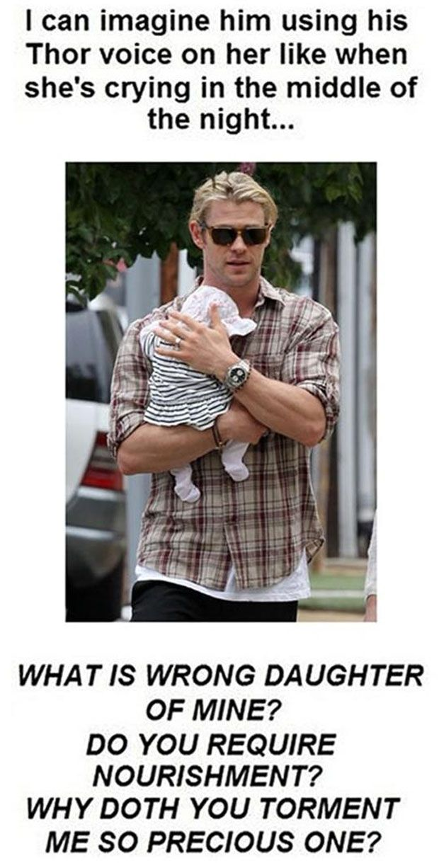 Chris Hemsworth and his daughter> there is something incredibly attractive about a man with a baby