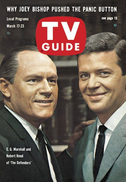 """TV Guide, March 17, 1962 - E.G. Marshall and Robert Reed of """"The Defenders"""""""