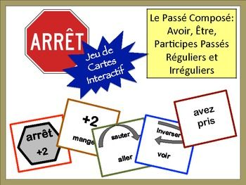 French Verb Review Card Game with Speaking: Passé Composé (avoir + être)