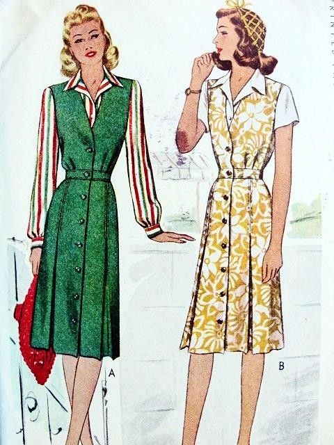 1940s JUMPER DRESS, TAILORED BLOUSE PATTERN VERY NANCY DREW STYLE  McCALL 5622