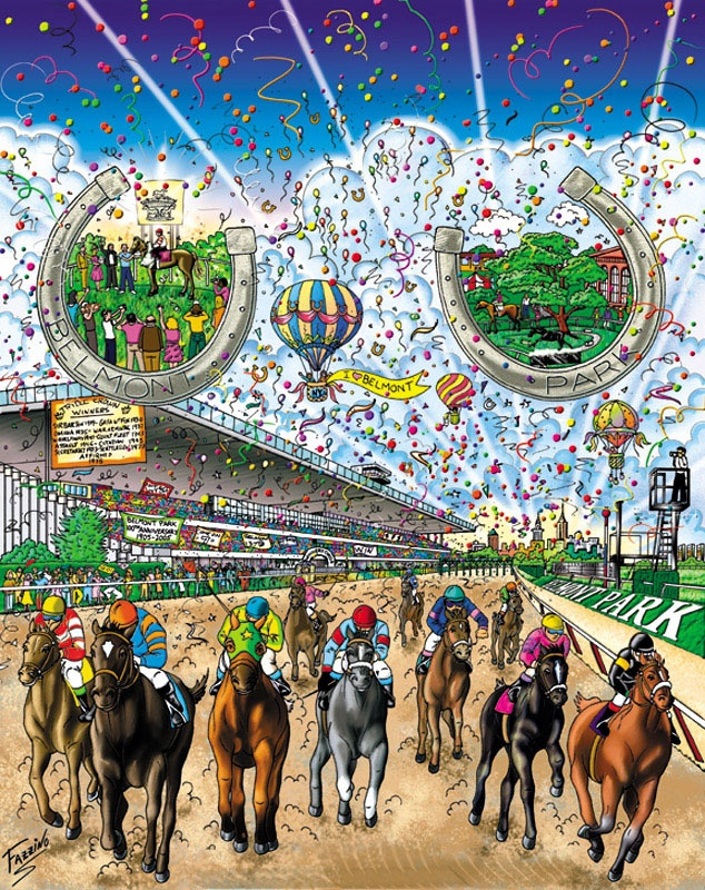 "The Belmont Stakes, 200515"" x 12"" Artist Charles Fazzino"