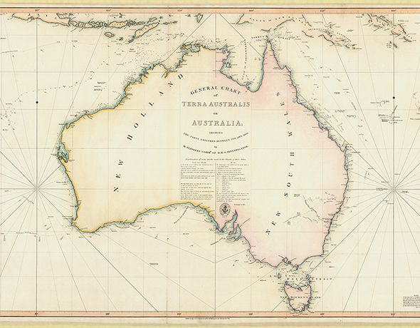 Created between 1814 and 1822 and held by the National Library, this map by the explorer Matthew Flind...