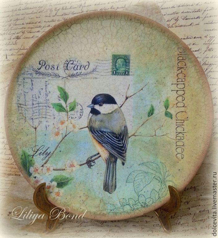"""Тарелка-панно """"Post card-2"""" - разноцветный,панно,тарелка,птица,почтовая открытка"""