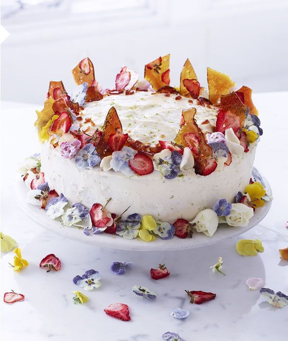 Emily Ezekiel's decorated cake with crystallised flowers, dried strawberries and maple brittle