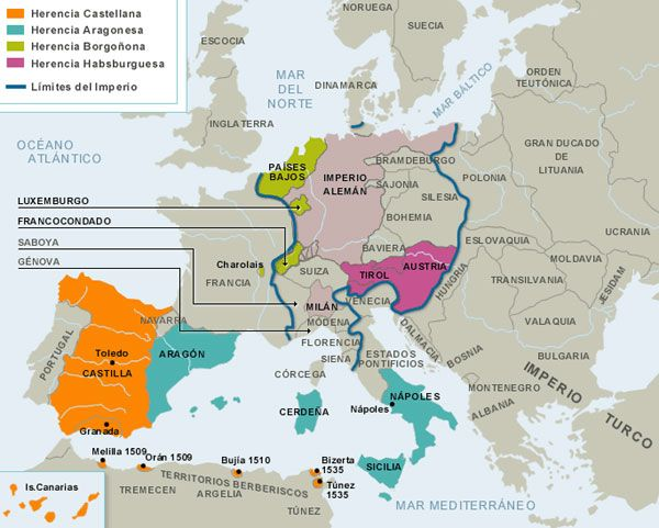 Mapa de la herencia de Carlos I de España y V de Alemania.