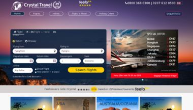 https://www.woorank.com/en/www/crystaltravel.co.uk  Passed       Cheap Flights - We offer wide range of best travel deals for Flight bookings, Holiday packages, Hotel tariff, Car Hire and City Breaks from CrystalTravel.