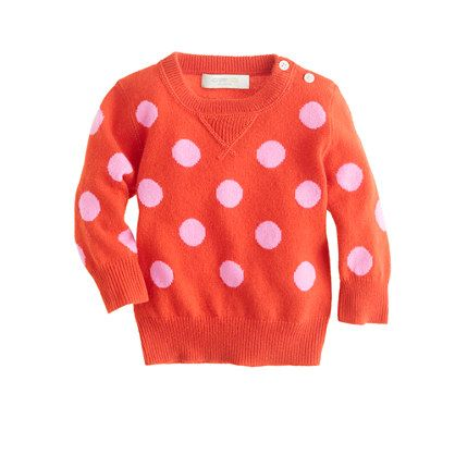 Collection cashmere baby sweater in polka dot. J.Crew.