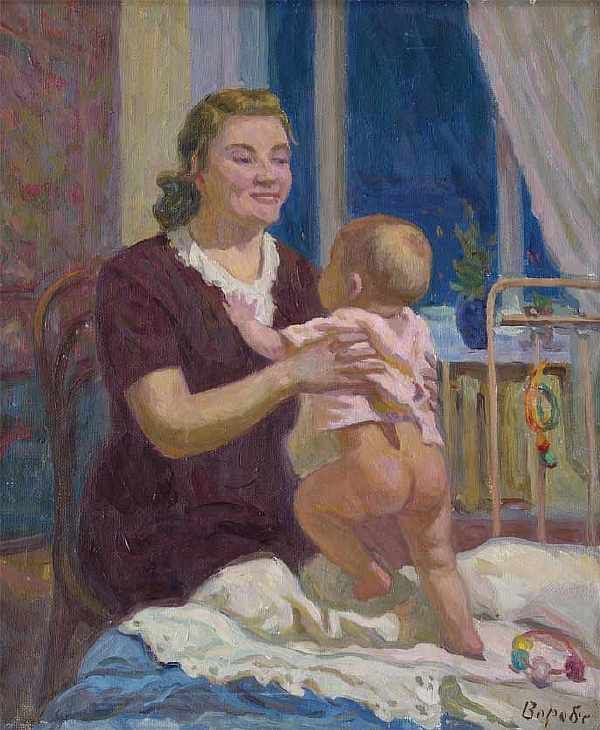 Мать и дитя. : Воробьева Н.Д. : 1958 г