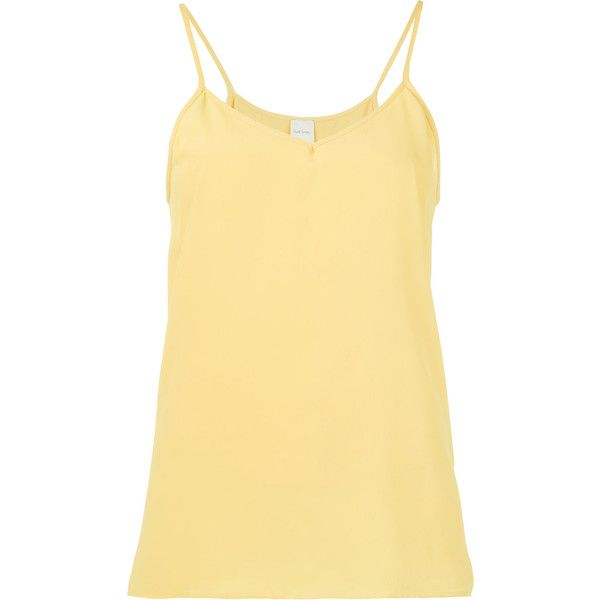 Paul Smith strappy top ($140) ❤ liked on Polyvore featuring tops, yellow, spaghetti-strap tops, strappy top, yellow top, beige top and paul smith