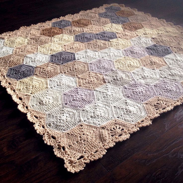 """Design Profile Pattern: Geometric Lace Materials: Hobby Lobby """"I love this yarn"""" and Red Heart Super Saver (I buy from knitting-warehouse.com for a softer product!) Size: 48x48in Construction: Hexa..."""