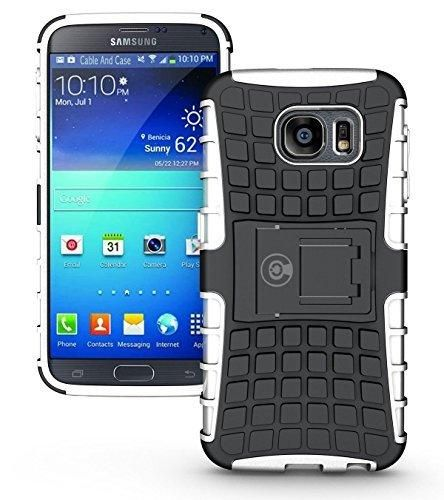 Galaxy s6 Case By Cable And Case Galaxy s6 Armor Cases- Compatible With Samsung Galaxy s6 SIV S IV [SM-G920F] - Soft/Hard Shell 2 in 1 Tough Protective Cover Skin - White S6 Case