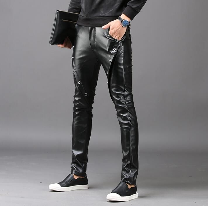 Winter personality fashion slim motorcycle faux leather pants mens feet pants pu trousers for men pantalon homme black autumn