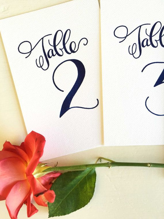 Wedding Table Numbers Calligraphy Table Numbers by CocoPress