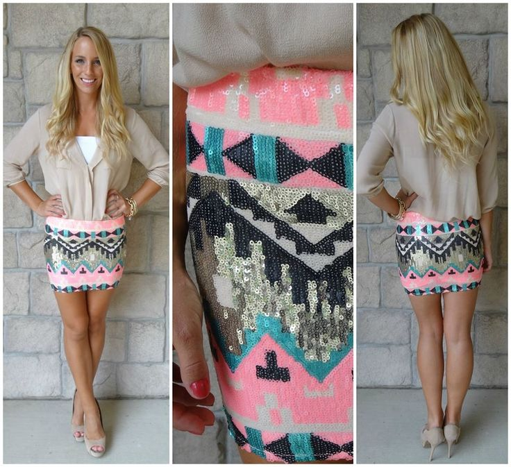 Apricot Lane Peoria $42 Aztec Sequin Skirt | G L A M | Pinterest ...