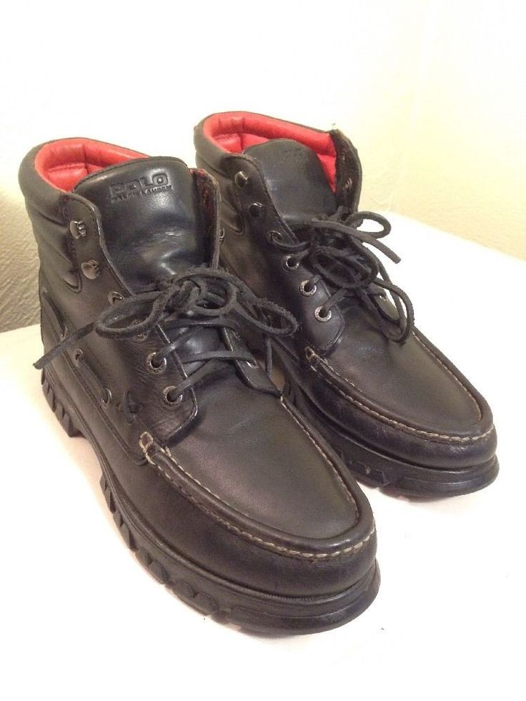Polo By Ralph Lauren Boat Fashion Boots Size 11.5 D Black Leather #PoloRalphLauren #AnkleBoots
