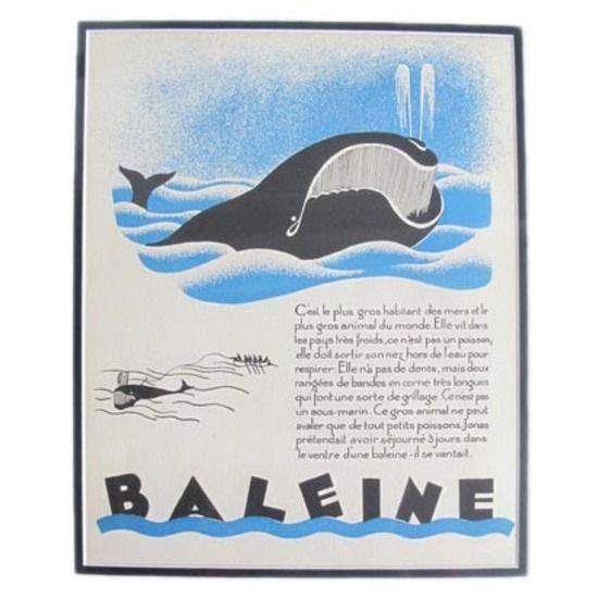 Whale Giclee, Art Deco Illustration #huntersalley
