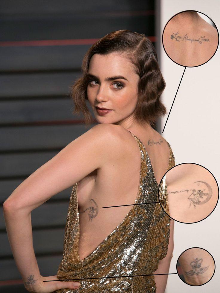 """Lily Collins Tattoo am Nacken mit dem Schriftzug """"Love Always and Forever"""" und das Mini-Tattoo am linken Handgelenk kannten wir bereits. Nun ziert eine zierliche Elfe, die eine Pusteblume in der Hand hält und auf dem Mond sitzt den Rippenbogen der Schauspielerin. Der Schrifzug """"fragile thing"""" vervollständigt das Elfen Tattoo.Wie gefallen euch die Tattoos von Lily Collins?"""