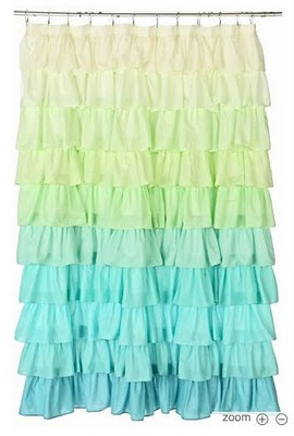 DIY Ruffle Shower Curtain made from Bed Sheets :)