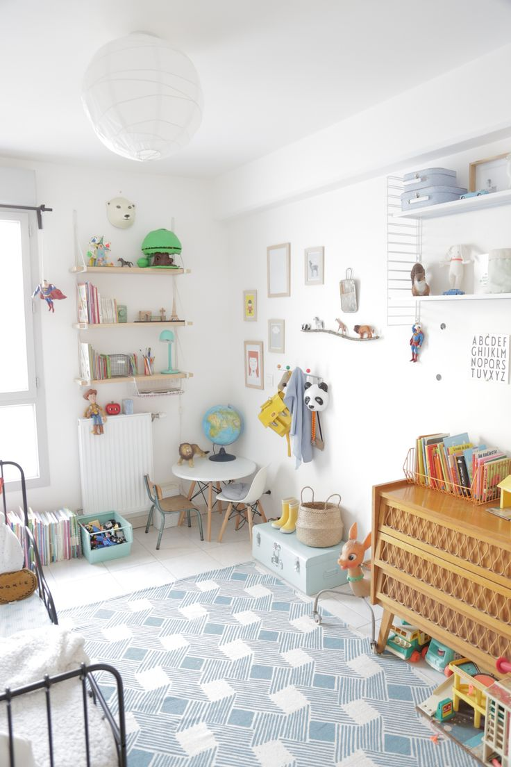 kids room- scandinavian influenced- white , wood and muted tones- mixture of vintage and modern. Kids bedroom inspiration