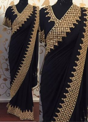 NEW LATEST BLACK COLOR 60GM GEORGET EMBROIDERY WORK SAREE Bollywood Sarees Online on Shimply.com