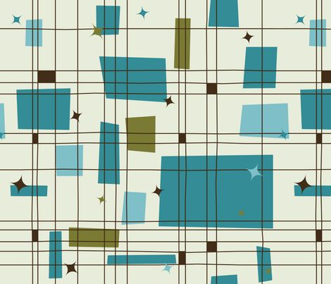 A great Mid-Century Modern fabric for a skirt, or kitchen curtains - Grid & Stars (Teal) fabric by studiofibonacci on Spoonflower - custom fabric