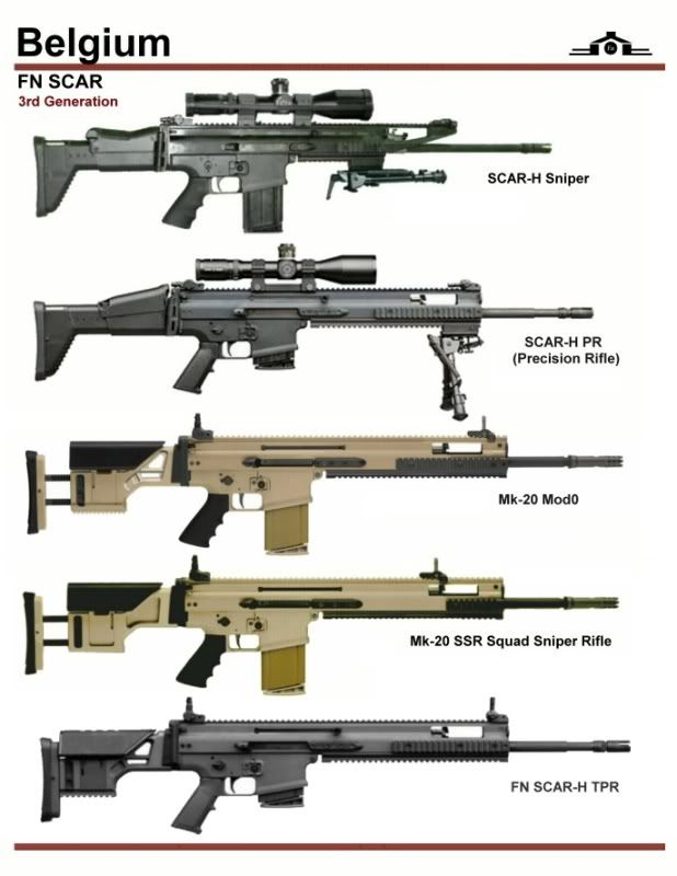 "5 SCAR-Hs. From top: 1. 20"" barrel. Name ""Sniper"" was changed to ""LB"" for Long barrel. 2. 20"" heavy barrel, better trigger, bipod, etc for greater accuracy for use as DMR = Designated Marksman Rifle. The Designated Marksman is part of squad and one level down from a sniper. 3. and 4. Both the SSR = Sniper Support Rifle = semi-auto rifle used by the Spotter in 2 man sniper team while the Sniper uses bolt action true sniper rifle. 5. Same as 2 but has a non-folding stock for greater rigidity."