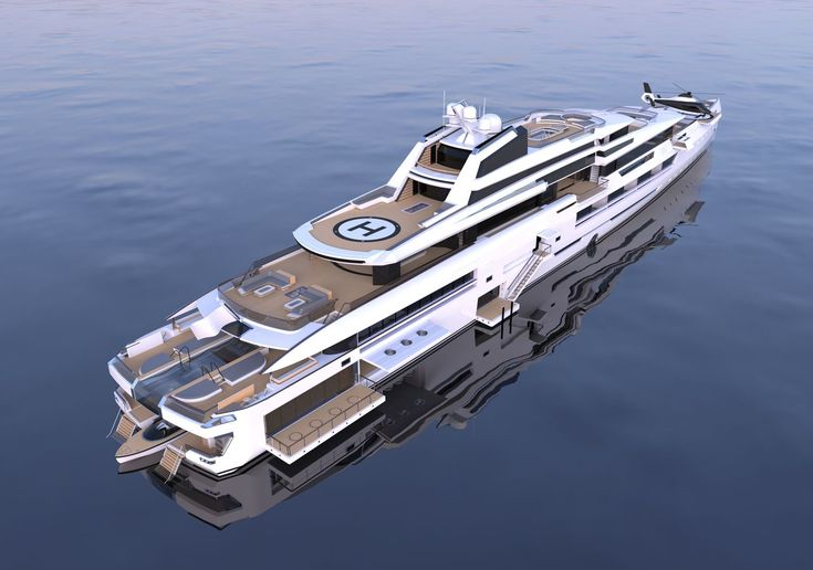 INES is a 114m luxury superyacht by Spanish yacht designer Alvaro Aparicio de Leon. This yacht concept has two helicopter landing pads and a huge beach club