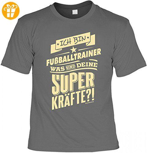 Funshirt - Bin Fußballtrainer und Deine Superkräfte? - lustiges T-Shirt inkl. Urkunde im Geschenk Set zum Geburtstag, Größe:L (*Partner-Link)