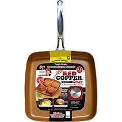 As Seen on TV Red Copper Square Dance Pan