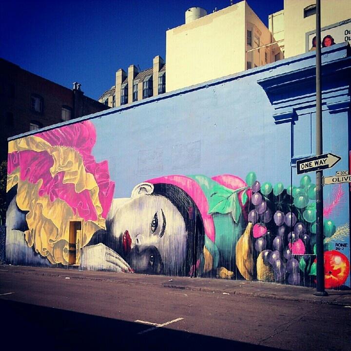 Artist: Rone. Tenderloin, San Francisco, Ca.  Graffiti Street Art. Photo copyright: Rachel Escoto, Pixelina Photography.