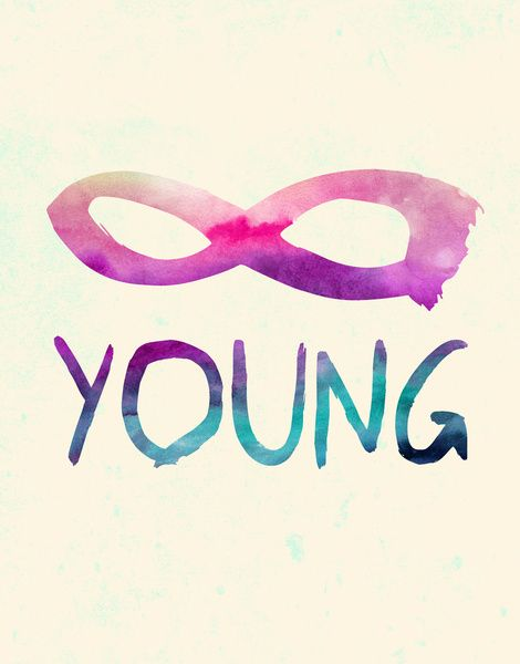 Forever Young Art Print  watercolor typography with the infinity symbol by Jacqueline Maldonado on society6