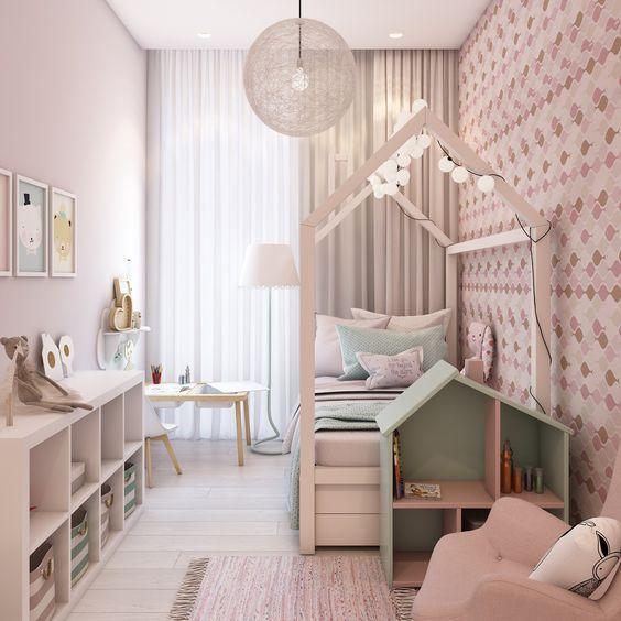 Fotos de dormitorios infantiles de diseño. Mobiliario de líneas rectas funcionales, habitaciones en blanco y color pastel. Inspiración para decorar.
