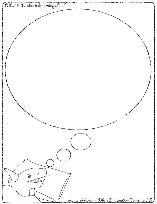 What is the shark dreaming about? CreKid.com - Creative Drawing Printouts - Spark your child's imagination and creativity. So much more than just a coloring page. Preschool - Pre K - Kindergarten - 1st Grade - 2nd Grade - 3rd Grade. www.crekid.com