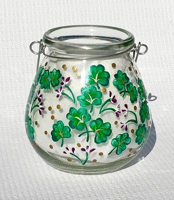 Candle Holder With Hand Painted Shamrocks and Purple Flowers  #stpatricksday #shamrocks #candleholder #irishgifts #irishdecor #mothersdaygift #giftsforher #paintedcandleholder