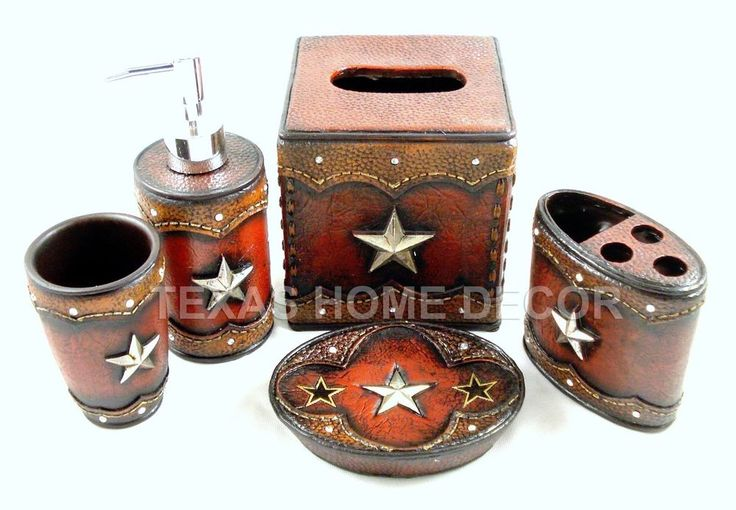 Rustic Texas Star Bathroom Accessory Set 5 Pieces Faux Leather Look Stones Accessories