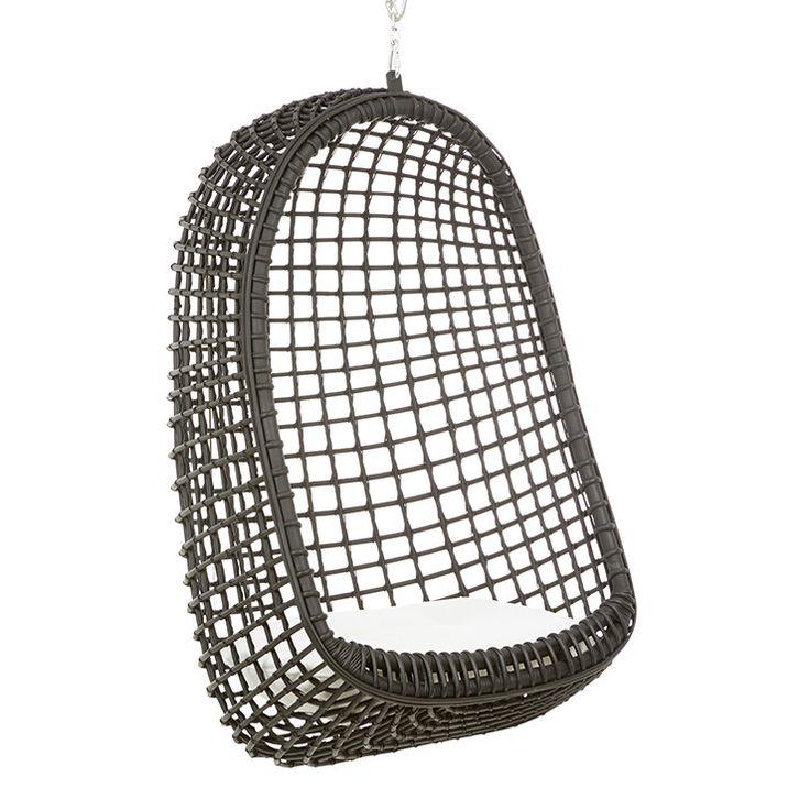 GlobeWest -  Plantation Nest Hanging Chair in black rattan