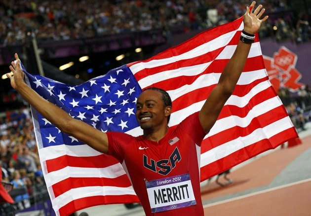 Aries Merritt of the U.S. celebrates after winning the men's 110m hurdles final during the London 2012 Olympics Games at the Olympic Stadium August 8, 2012.