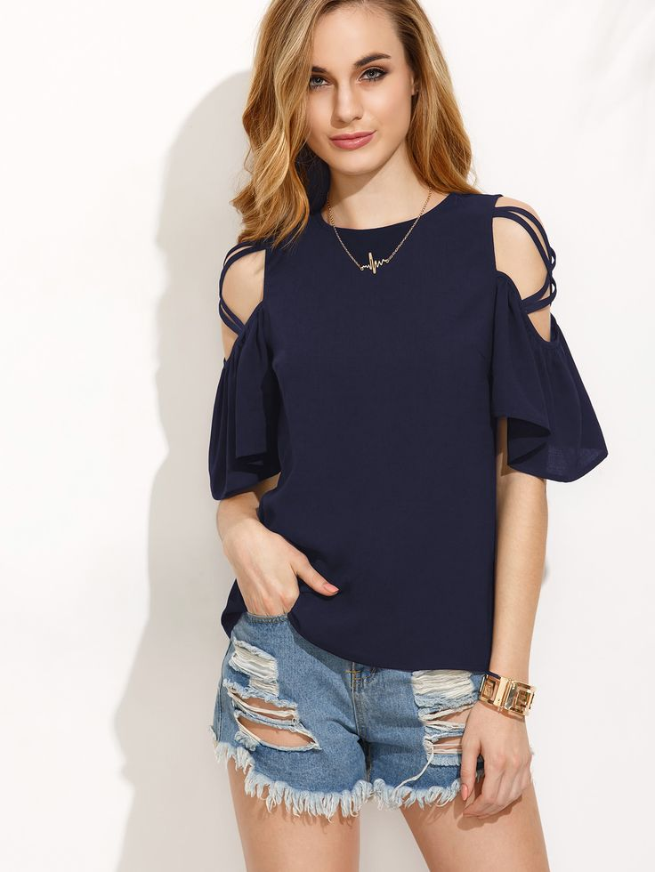 Shop Crisscross Open Shoulder Ruffle Sleeve Button Keyhole Back Top online. SheIn offers Crisscross Open Shoulder Ruffle Sleeve Button Keyhole Back Top & more to fit your fashionable needs.