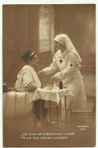RED CROSS Nurse & soldier W WAR I old Patriotic Postcard
