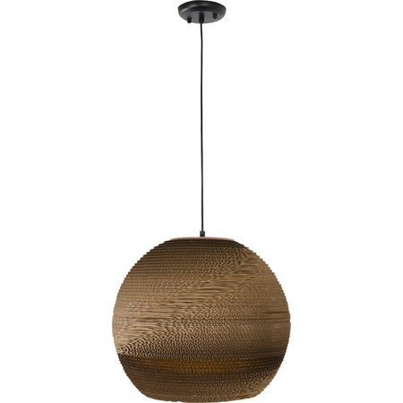Stunning!  Showcasing an upcycled cardboard shade, this artful and eco-friendly pendant casts a stylish glow over your kitchen island or reading nook.