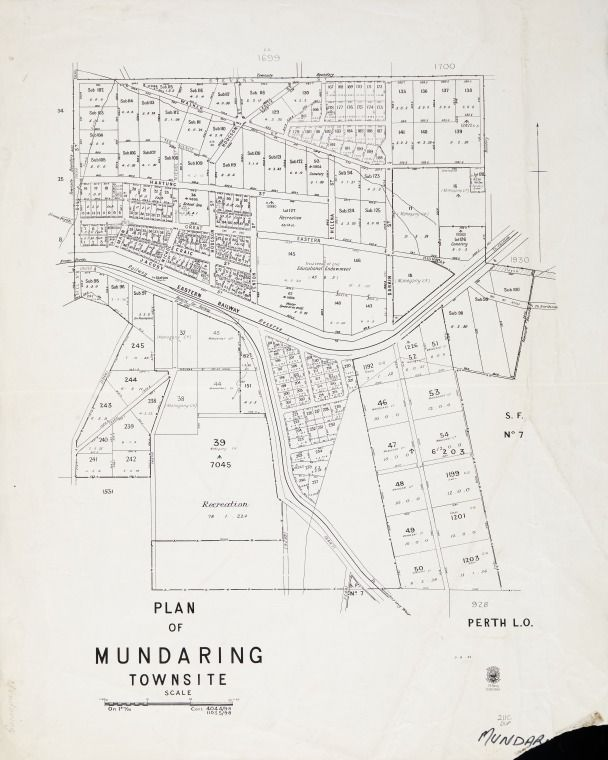 MUNDARING Cadastral map showing land use and zoning. Also shows Mundaring suburban lots. Part of collection: Townsite maps, Western Australia. https://encore.slwa.wa.gov.au/iii/encore/record/C__Rb1950155