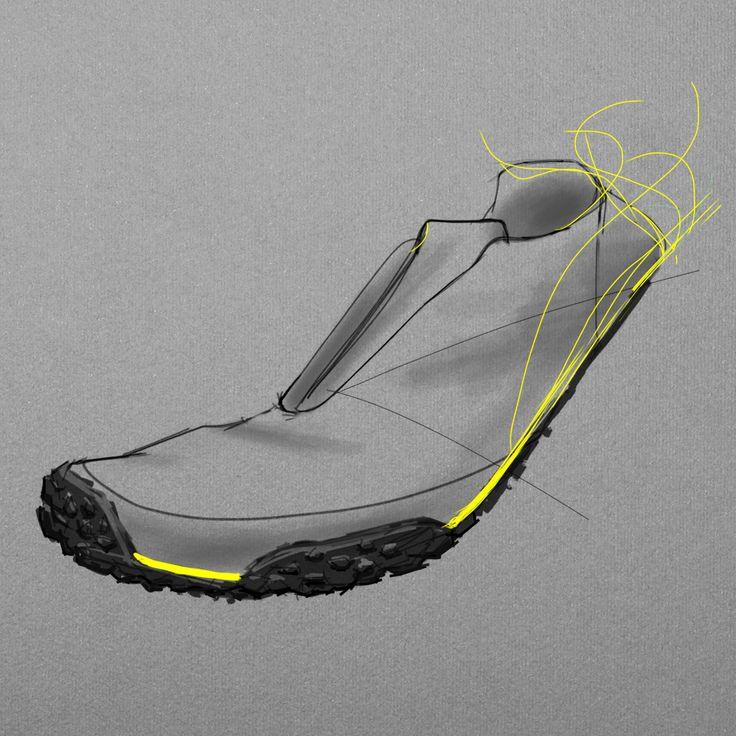 Shoe design, first design sketch for Alvar running shoes