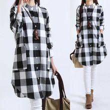 Mujeres Tops tallas grandes mujeres ropa blusas a cuadros de manga larga mujer blusas de lino del algodón mujeres camisas Vintage Casual Tops(China (Mainland))